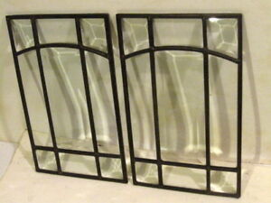 2 Vintage Arts Crafts Art Deco Beveled Glass Panel Windows 9 25 X 5 75