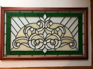 Vintage Green Stained Beveled Glass Large 36 X 22 Window