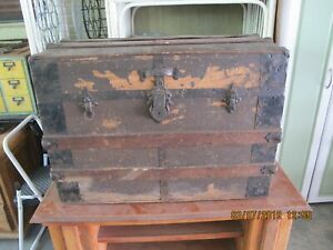 Antique Small Wooden Trunk W Removable Drawer Tray 28w X 20h X 17d