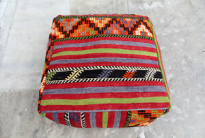 Handmade Vintage Big Size Pillow Pouf Covered With Anatolian Multicolor Kilim