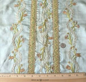 French Antique 18thc Silk Floral Embroidered Blue Silk Table Cover L 54 X W 18