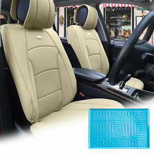 Pu Leather Seat Cushion Covers Front Bucket Beige W Blue Dash Mat For Auto