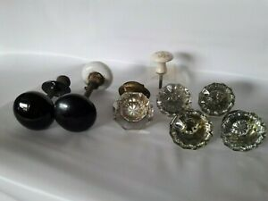 Vintage Antique Glass Door Knobs And Hardware Lot 8 Total