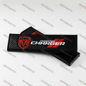 New Carbon Look Embroidery Seat Belt Cover Shoulder Pads For Dodge Charger 2 Pc