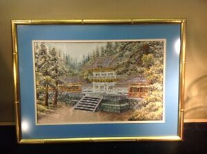 Antique Japanese Framed Silk Hand Embroidered Panel Of Tranquil Forest Palace