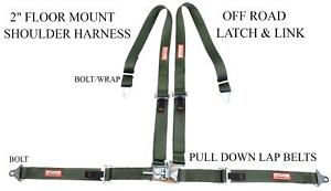 4 Point 2 Racing Harness Latch Link Floor Mount Military Green