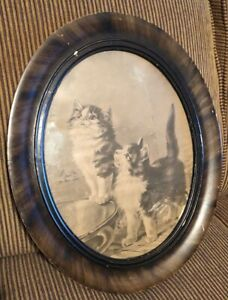 Antique Victorian Tiger Maple Wood Oval Frame Two Kitty Cats Print Vintage