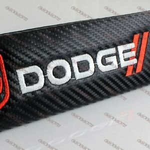 Carbon Look Embroidery Seat Belt Cover Shoulder Pads For Dodge Ram Charger X2