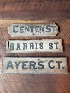 19th Century Antique Wooden Street Signs Maine Center Harris Ayers Trade Sign