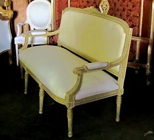 Polychrome French Louis Xvi Settee Canap Sofa Barbola Roses Ribbons