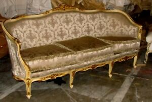 Outstanding Polychrome Painted Gilded Louis Xv Corbeille Sofa Settee Canap
