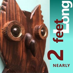 Wow Vintage X Large Carved Wooden Owl 2 Feet Long Mcm Witco Wall Art 70 S Retro