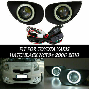 2x Front Led Fog Light Angel Eye Lamp For Toyota Yaris Hatchback Ncp9 2006 2010