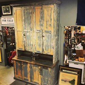 9ft Tall Antique Wood Wall Cabinet Storage Mercantile General Store Display 1900