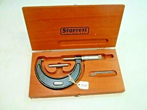 Starrett No 436 2 3 Machinists Micrometer With Wooden Case Made In Usa