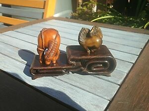 2 Tier Carved Wood Stand For Netsuke Snuff Boxes Or Small Collectables