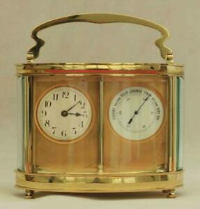 Rare Antique French Siamese Twin Oval Carriage Clock Barometer With Original Box