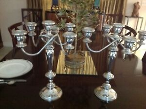 Large Elegant Pair Of Poole Sterling Candelabra