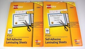 Avery 73601 Self Adhesive Laminating 9 X 12 Sheets 50 Per Box Lot Of 2