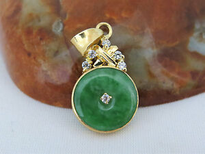 Vintage 18k Solid Yg Natural Apple Green Jadeite Jade White Topaz Donut Pendant