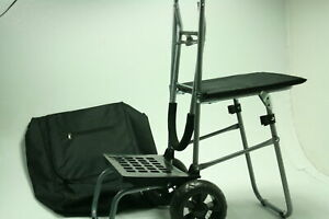 Trolley Dolly W Seat Black Shopping Grocery Portable Fold able Cart Tailgate