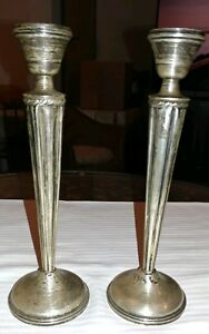 Pair Of Vintage Weighted National Sterling Silver Candlesticks 9 Tall Art Deco