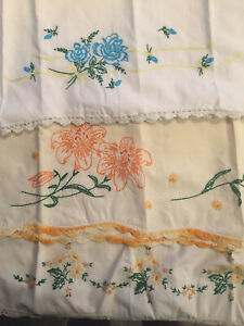 Vintage Embroidered Pillowcases Yellow Orange And Blue Flowers