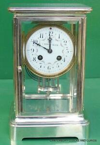 Tiffany Coart Deco French Japy Freres 8 Day Four Glass Crystal Regulator Clock