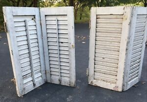 2 Pair Antique Wood Shutters Louver Farmhouse Architectural Salvage White Shabby