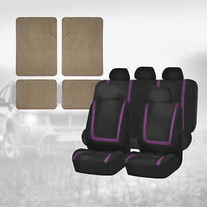 Black Purple Car Seat Covers Combo With Beige Floor Mats For Auto Car Suv