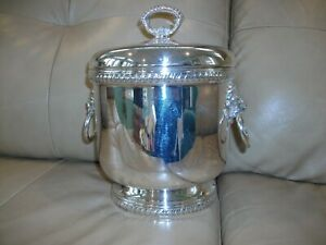 Sheffield Silver Ice Bucket With Lid And Ice Tongs Bottle Opener