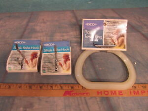 Nos Vintage 2 Towel Hook And Ring Plastic Holder Ekco Chrome With Tags