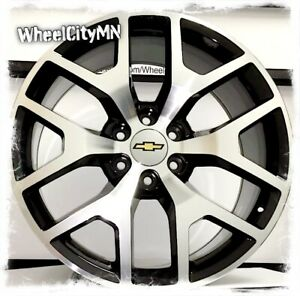 20 X9 Gloss Black Machined Gmc Denali 5656 Oe Replica Rims Chevy Tahoe Ltz 6x5 5