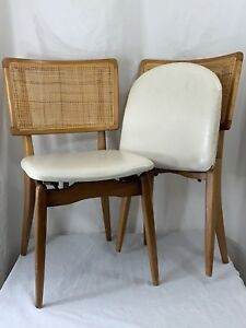 2 Vintage Wood Folding Chairs Pair Set Beige Dinette Mid Century Modern Stakmore