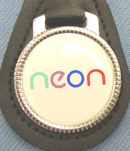 Vintage Dodge Neon Black Leather Key Ring 1993 1994 1995 1996 1997 1998 1999