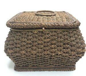 Antique Sewing Basket Wicker Wooden Lid Handle Red Tufted Satin Germany K