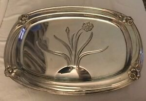 Htf 1847 Rogers Bros Silverplate Daffodil Footed Meat Platter 19 X 14 Tray