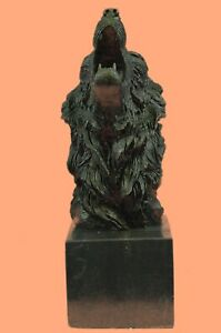 Signed Lopez Wild Wolf Bronze Marble Bust Sculpture Statue Fifurine Art Deco Gif