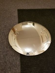 Frameless Round Art Deco Wall Mirror Etched Beveled Cut Mid Century