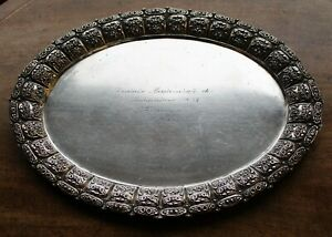 800 Silver 2nd Prize Tray For German Championship For Tennis Instructors 1937