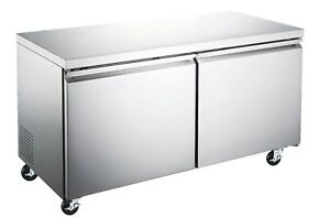60 Heavy Duty Stainless Commercial Two Door Under counter Refrigerator Etl nsf