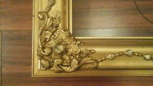 Antique Ornate Gold Gilt Picture Frame Victorian Wood Gesso 16 X 20 Opening