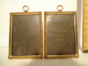 Two Vintage Ornate Gold Picture Frame Metal Photo Tabletop Holds 5 X 7