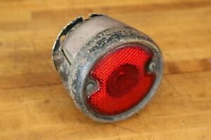 Vintage Metal With Glass Lens Taillight Stop Brake Light Accessory Gm Ford Etc