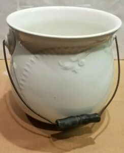 Vintage Antique W E P Co China Porcelain Chamber Pot W Wood Handle
