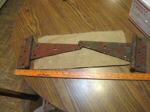 2 Large Barn Door T Strap Hinges Old Antique Aged Weathered Hinges Rusted 12