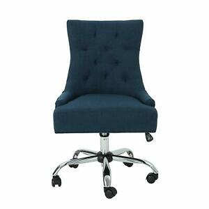 Navy Blue Office Chair Vintage Tufted Plush Fabric Swivel Chrome Desk Wi