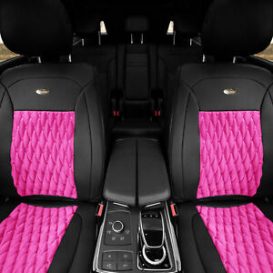 Pu Leather Luxury Seat Cushion Pad Covers Front Bucket Pair Auto Pink Black