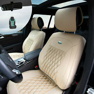 Front Bucket Luxury Seat Covers Pu Leather Set Beige W Air Freshener