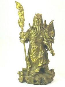 Chinese Brass Plated Guan Gong Yu Warrior God Guangong Dragon Statue With Sword